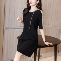 Dress Summer 2021 black S M L XL Mid length dress Others 30-34 years old Ge yanxuan 213Q1686 30% and below nylon Viscose fiber (viscose fiber) 84% polyamide fiber (nylon fiber) 9% polyurethane elastic fiber (spandex fiber) 7%