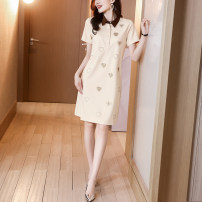 Dress Summer 2021 Brown apricot S M L XL Mid length dress singleton  Short sleeve commute Polo collar Loose waist Solid color Socket A-line skirt routine Others 30-34 years old Type A Ge yanxuan lady Three dimensional decorative button 213Q1683 31% (inclusive) - 50% (inclusive) nylon