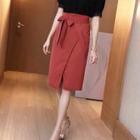 skirt Summer 2020 S M L XL Caramel black white Mid length dress Versatile High waist Pencil skirt Solid color Type H 30-34 years old More than 95% Ge yanxuan polyester fiber Frenulum Polyester 98% polyurethane elastic fiber (spandex) 2% Pure e-commerce (online only)