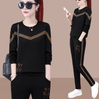 Middle aged and old women's wear Spring 2020 M L XL XXL XXXL 4XL motion suit easy Two piece set Decor 40-49 years old Socket moderate Crew neck routine And Li cotton Cotton 96% other 4% 96% and above Pure e-commerce (online only)