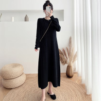 Dress Autumn 2020 Black haze blue brown apricot S M L XL longuette singleton  Long sleeves commute Crew neck Loose waist Solid color Socket A-line skirt routine Others 25-29 years old Type A Dacha yarn 30% and below knitting acrylic fibres Pure e-commerce (online only)