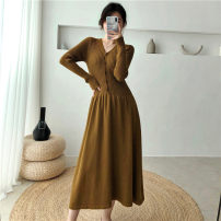 Dress Autumn of 2019 Khaki Brown Black S M L Mid length dress singleton  Long sleeves commute V-neck High waist Solid color other A-line skirt routine Others 25-29 years old Type A Dacha yarn Korean version 30% and below knitting polyester fiber Pure e-commerce (online only)