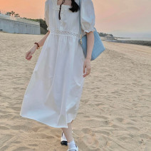 Lace / Chiffon Summer 2021 White yellow S M L Short sleeve commute Socket singleton  easy Medium length square neck Solid color routine 18-24 years old Geqili Korean version Other 100%