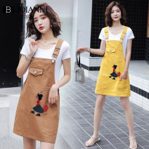Dress Summer 2020 Yellow one piece blue one piece Khaki one piece S M L XL 2XL Middle-skirt singleton  Sleeveless commute other High waist Cartoon animation Socket A-line skirt other straps 18-24 years old Type A Beiqianni lady Embroidered pocket back with button print F785271F1F422 More than 95%