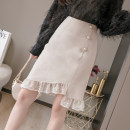 skirt Spring 2021 S M L XL Black apricot Middle-skirt commute High waist A-line skirt Type A 25-29 years old KQ201230013 More than 95% I'm Keqing other Korean version Other 100%