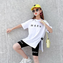 suit 2 pieces Condom children Travel Girls' summer new Yangqi net red letter slit shorts suit Huzhou City Four, five, six, seven, eight, nine, ten, eleven, twelve, thirteen, fourteen Other / other letter Thin money There are models in the real shooting Short sleeve + pants summer Other 100% female