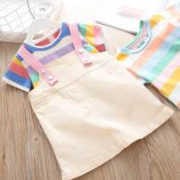 Dress T-shirt with yellow skirt, T-shirt with pink skirt female Other / other 80cm,90cm,100cm,110cm,120cm Other 100% summer leisure time Short sleeve stripe cotton A-line skirt A92074 Class A 12 months, 18 months, 2 years old, 3 years old, 4 years old, 5 years old