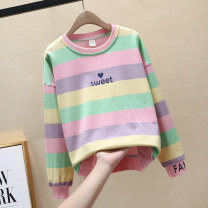 T-shirt stripe 130cm 140cm 150cm 160cm female spring and autumn Long sleeves Crew neck leisure time No model nothing cotton other Cotton 95% polyurethane elastic fiber (spandex) 5% Class B other Spring 2020 Chinese Mainland