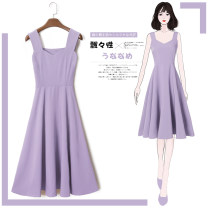 Dress Summer 2020 XS S M L XL 2XL 3XL Mid length dress singleton  Sleeveless commute V-neck High waist Solid color Socket A-line skirt other straps 25-29 years old Type A Tan Mengluo Korean version Strap zipper 3D LYQ1215z More than 95% Chiffon polyester fiber Other polyester 95% 5%