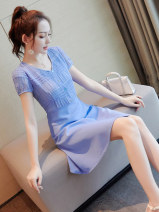 Dress Summer of 2019 Blue Pink S M L XL Middle-skirt singleton  Short sleeve Sweet V-neck middle-waisted Solid color zipper A-line skirt routine Others 18-24 years old Type A Wen Huan WF6638 More than 95% other Other 100% Ruili Pure e-commerce (online only)