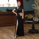 cheongsam Autumn 2020 S ml XL 2XL 3XL 4XL customized contact customer service Short sleeve long cheongsam Retro High slit perform Oblique lapel Big flower 25-35 years old Embroidery Shibeimo other Other 100% Pure e-commerce (online only) 96% and above