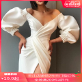 Dress Summer of 2019 Black, white XL,L,S,M,XXL Mid length dress singleton  V-neck High waist Solid color zipper Irregular skirt puff sleeve