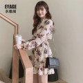 Dress Autumn of 2019 Picture color S,M,L,XL Short skirt singleton  Long sleeves commute V-neck High waist Decor A-line skirt shirt sleeve Others 18-24 years old Type A Other / other Korean version