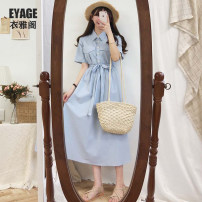 Dress Summer 2020 Apricot, blue S,M,L,XL Miniskirt singleton  Short sleeve commute Polo collar High waist Solid color Three buttons Big swing shirt sleeve Others 18-24 years old Type A Korean version Pocket, lace up, button 275#