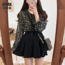 skirt Spring of 2019 S,M,L,XL Apricot, white, black Short skirt commute High waist Pleated skirt Solid color Type A 18-24 years old 71% (inclusive) - 80% (inclusive) brocade Other / other cotton zipper Korean version