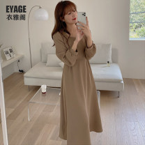 Dress Winter 2020 Camel S,M,L,XL longuette singleton  Long sleeves commute square neck High waist Solid color zipper A-line skirt bishop sleeve Others 18-24 years old Type A Korean version Lace up, strap, zipper