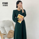 Dress Autumn of 2019 Green, black S,M,L,XL Mid length dress singleton  Long sleeves commute Crew neck High waist Solid color zipper A-line skirt Pile sleeve Others 18-24 years old Type A Other / other Korean version