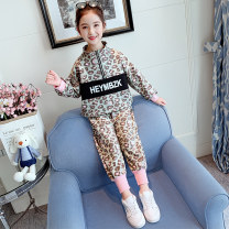 suit Farley bear Leopard print suit 110cm 120cm 130cm 140cm 150cm 160cm female spring and autumn Korean version Long sleeve + pants 2 pieces routine There are models in the real shooting Socket nothing Leopard Print other elder Expression of love Glutinous rice baby & 9352 leopard print suit Class B