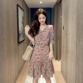 Dress Summer 2020 White black S M L XL Mid length dress singleton  elbow sleeve commute V-neck High waist Broken flowers Socket Ruffle Skirt pagoda sleeve Others 18-24 years old Type A Cherry and lemon Korean version Lace up 7023# More than 95% other Other 100% Pure e-commerce (online only)