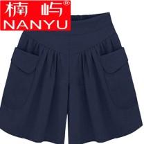 Casual pants Black navy navy green apricot orange 95 115 2XL 3XL 4XL 5XL 80 Summer of 2018 shorts Wide leg pants High waist Nanyu Other 100%