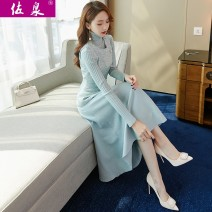Dress Winter of 2019 Grey blue pink S M L XL Mid length dress Two piece set Long sleeves commute High collar High waist Solid color Socket Big swing routine Others 25-29 years old Type A Zuoquan lady Stitching thread button resin fixation 3D 4127S0 More than 95% knitting other Other 100.00%
