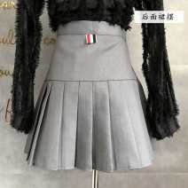 skirt Autumn 2020 S,M,L Black, grayish blue Short skirt Versatile High waist Pleated skirt Solid color Type A 25-29 years old 810 pleated skirt 31% (inclusive) - 50% (inclusive) other other Asymmetric, zipper