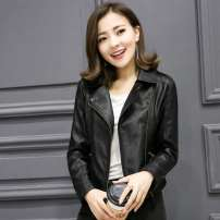 leather clothing Jemezpin / Kami Zhenpin Winter of 2019 XS,S,M,L,XL,2XL,3XL,4XL Black spring and autumn regular style, black Plush thickened warm style have cash less than that is registered in the accounts Long sleeves Self cultivation Sweet tailored collar zipper routine PU pocket 30-34 years old