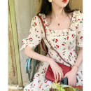 Women's large Summer 2021 Floral Dress S M L XL Dress singleton  commute Self cultivation Socket Broken flowers square neck routine polyester fiber puff sleeve QSM96407 Sauvignon 18-24 years old Medium length Polyester 95.5% other 4.5% Pure e-commerce (online only) other