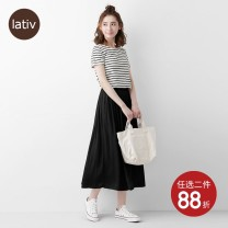 skirt Spring 2020 S M L Apricot brick red black longuette Natural waist More than 95% Lativ polyester fiber Polyester 100% Pure e-commerce (online only)