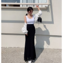 skirt Summer 2021 S, M longuette Sweet High waist A-line skirt Solid color Type A 25-29 years old other
