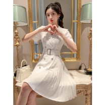 Dress Summer 2021 white S M L XL Short skirt singleton  Short sleeve commute tailored collar High waist Solid color Socket Pleated skirt routine 25-29 years old Type A Korean version Pleated button More than 95% polyester fiber Polyester 100% Pure e-commerce (online only)