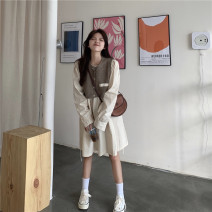 Lace / Chiffon Autumn 2020 S M L XL Long sleeves commute Socket Two piece set easy Medium length Crew neck Solid color shirt sleeve 18-24 years old Hua Sijing Korean version Other 100% Pure e-commerce (online only)