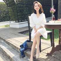 Dress Summer 2020 White, dark orange XS,S,M,L,XL Middle-skirt Two piece set three quarter sleeve commute V-neck Elastic waist Solid color Socket A-line skirt bishop sleeve Type X Korean version Hollowing out DRR-746 91% (inclusive) - 95% (inclusive) brocade