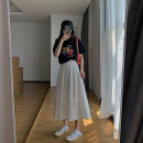 skirt Summer 2021 S M L XL White black Mid length dress commute High waist A-line skirt Solid color Type A 18-24 years old More than 95% According to the law other Korean version Other 100% Pure e-commerce (online only)