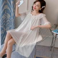 Nightdress Poetic beauty size1 S M L XL Sweet Long sleeves pajamas longuette autumn Solid color youth Crew neck cotton printing More than 95% pure cotton 280g Winter 2020 Triacetate fiber (triacetate fiber) 100%