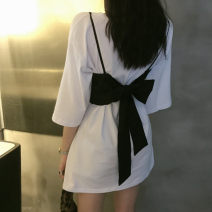 Dress Spring 2021 white M L XL Middle-skirt Two piece set Short sleeve commute Crew neck middle-waisted Solid color Socket other routine Others 18-24 years old Sofitel Korean version bow fbdrfgr15699999 51% (inclusive) - 70% (inclusive) other polyester fiber Pure e-commerce (online only)