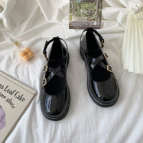 Low top shoes 35 36 37 38 39 Snow shadow floating Black matte black shine black matte upgrade black shine upgrade Round head PU Flat bottom Low heel (1-3cm) Shallow mouth PU Summer 2021 Cross buckle Korean version Adhesive shoes Youth (18-40 years old) Solid color rubber Single shoes Shallow mouth PU