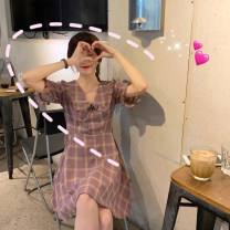 Dress Summer 2020 Purple blue S M L XL Short skirt singleton  Short sleeve commute Doll Collar High waist lattice Socket A-line skirt routine Others 18-24 years old Type A Yan Xiangfei Korean version Auricular button A2691 71% (inclusive) - 80% (inclusive) polyester fiber Polyester 80% other 20%