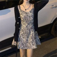 Dress Spring 2021 Black coat + zebra skirt S M L XL 2XL Short skirt Two piece set Sleeveless commute High waist Zebra pattern camisole 18-24 years old Yan Xiangfei Korean version MM627629413238 More than 95% polyester fiber Polyester 100% Pure e-commerce (online only)
