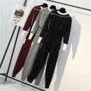 Women's large Spring 2021 Two piece set commute easy Socket Long sleeves Solid color Korean version Crew neck routine Dieyachun Other 100% trousers