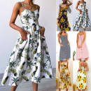 Dress Spring of 2018 Pineapple flower S,M,L,XL,2XL Middle-skirt singleton  Sleeveless street V-neck High waist Decor Single breasted Princess Dress other camisole 25-29 years old Type A Other / other A015 31% (inclusive) - 50% (inclusive) knitting cotton Europe and America