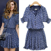 Dress Summer of 2019 Decor S,M,L,XL,2XL Miniskirt singleton  Short sleeve Sweet V-neck middle-waisted Broken flowers Single breasted Princess Dress puff sleeve Others 18-24 years old Other / other Button 968# 31% (inclusive) - 50% (inclusive) brocade cotton Mori