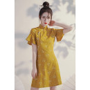 cheongsam Autumn 2020 S M L XL XXL Yellow plum Short sleeve Short cheongsam Retro No slits daily Round lapel other 18-25 years old Piping XX297 Xijixiyu / xiju Xiyu other Other 100% Pure e-commerce (online only) 96% and above
