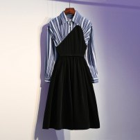 Dress Autumn of 2019 black L XL 2XL Mid length dress singleton  Long sleeves commute Polo collar stripe Ruffle Skirt shirt sleeve 25-29 years old Korean version More than 95% other Other 100% Pure e-commerce (online only)