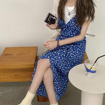 Women's large Summer 2020 Floral dress with white background M L XL S Dress singleton  commute Sleeveless Broken flowers Korean version other XHMK77381 Yibashu 18-24 years old 96% and above Medium length Other 100% Pure e-commerce (online only) other