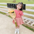suit Child flower Pink 90cm 100cm 110cm 120cm 130cm 140cm female summer Korean version Short sleeve + skirt 2 pieces Thin money There are models in the real shooting Socket nothing lattice cotton Summer 2020