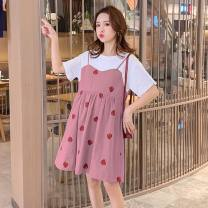 Dress Summer 2020 Blue, pink M,L,XL,2XL Short skirt Fake two pieces Short sleeve commute Crew neck High waist Solid color Socket A-line skirt routine Others Type A Other / other Panel, zipper 81% (inclusive) - 90% (inclusive) brocade cotton
