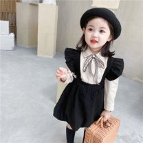 Dress Picture color [embroidered bowknot double layer shirt collar long sleeve shirt] black [flying sleeve flower bud skirt strap skirt] suit [embroidered bowknot shirt + flying sleeve strap skirt] female Mu Xinian 80cm 90cm 100cm 110cm 120cm 130cm Other 100% spring and autumn Korean version other