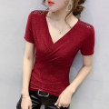 Women's large Summer 2020 commute Self cultivation Short sleeve Solid color Korean version V-neck routine routine 25-29 years old Bright silk Other 100.00% Pure e-commerce (online only)