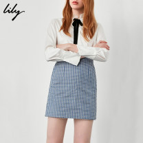 skirt Autumn of 2018 XS S M L XL 406 cobalt blue Short skirt commute Natural waist Pencil skirt lattice Type H 25-29 years old 118359C6910 More than 95% other Lily / Lily cotton zipper Ol style Cotton 100% Same model in shopping mall (sold online and offline)